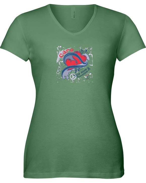 Care Vintage Splash Ladies V-Neck T-Shirt - with CASA Logo
