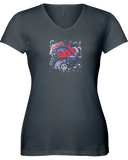 Care Vintage Splash Ladies V-Neck T-Shirt - with GAL Logo