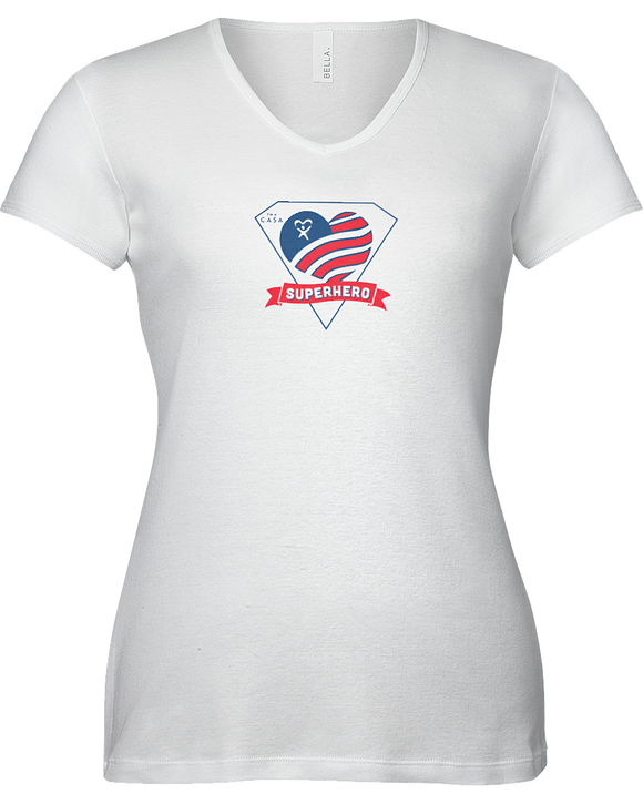 Superhero Heart Ladies V-Neck T-Shirt - WHITE