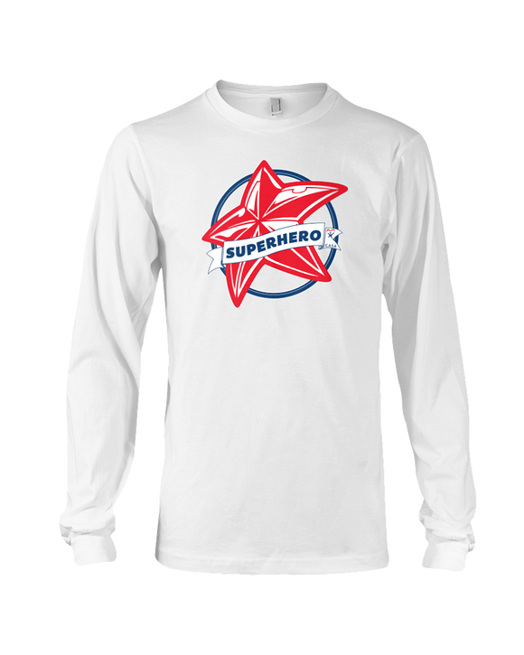 Superhero Star Unisex Long Sleeve T-Shirt - WHITE