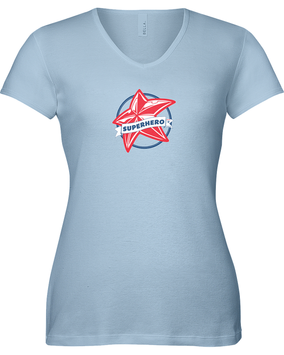 Superhero Star Ladies V-Neck T-Shirt - COLORS