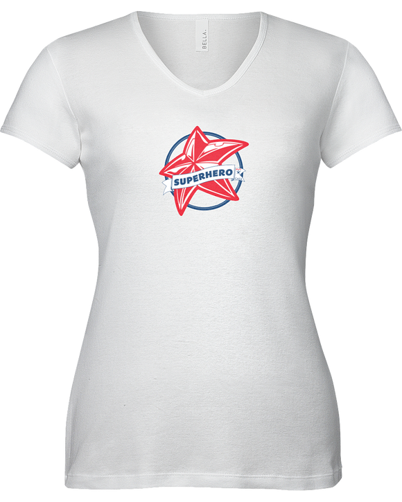 Superhero Star Ladies V-Neck T-Shirt - WHITE