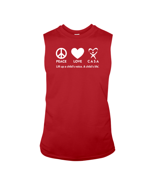 Peace Love CASA - Sleeveless T-Shirt, Dark Colors