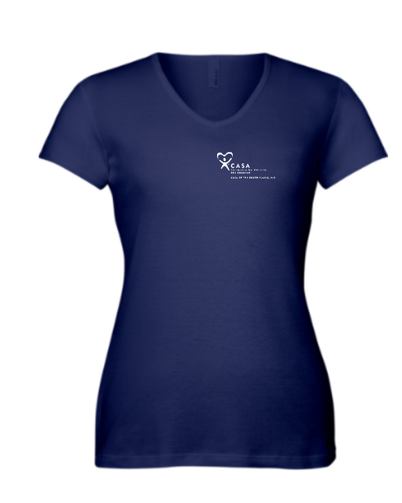 CASA of the South Plains - Ladies V-Neck Tee - Red or Navy