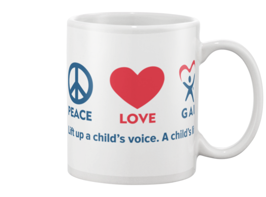 Peace, Love, GAL Mug - White