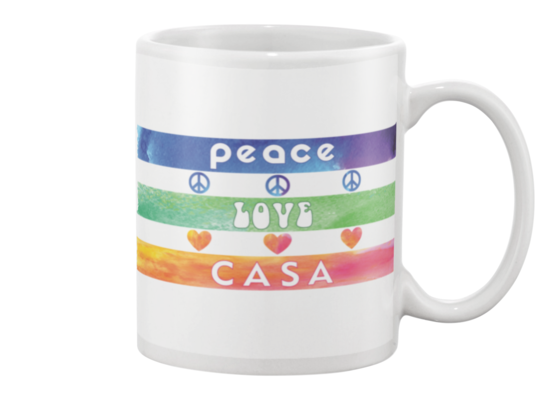 Splash Peace, Love, CASA Mug - White