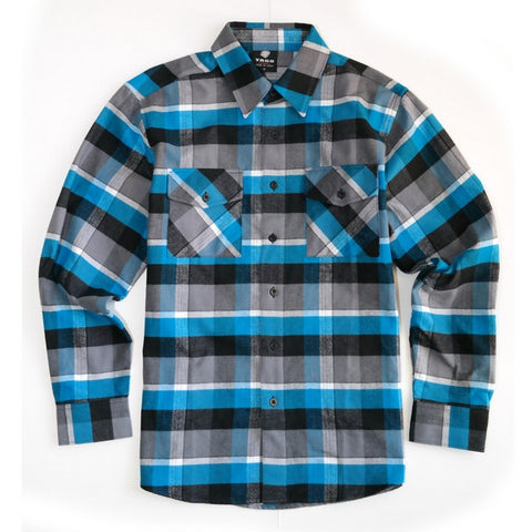 Yago Flannels - Blue Magoo Men's Longsleeve Flannel Shirt, Apparel, Yago, MOONSMC // Moons Motorcycle Culture
