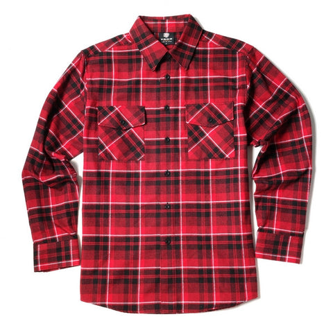 Yago Flannels - Red Widow Men's Longsleeve Flannel Shirt, Apparel, Yago, MOONSMC // Moons Motorcycle Culture
