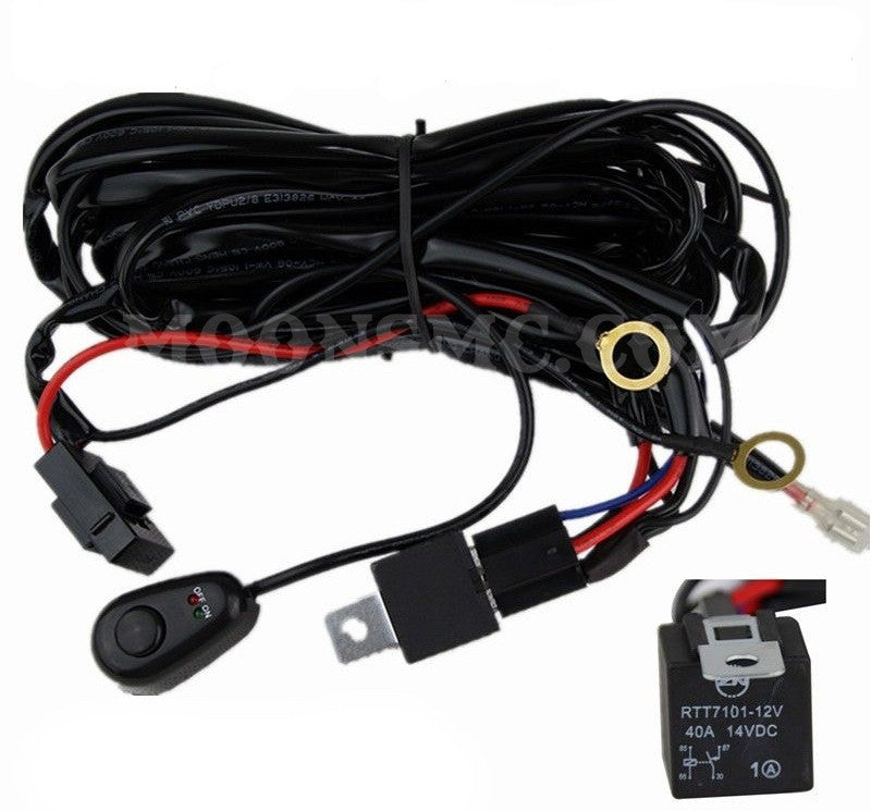 Wiring Harness Kit For Motorcycles : Moonsmc led light bar wire harness kit