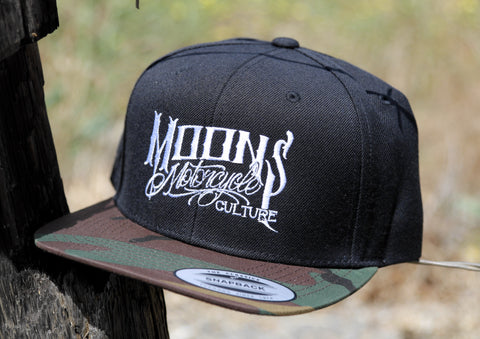 MOONSMC® OG Logo Black & Camo Snapback Hat, Apparel, MOONS, MOONSMC® // Moons Motorcycle Culture