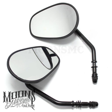 MOONSMC® Black Matte Tapered Short Stem Mirrors, Hand / Foot Components, MOONS, MOONSMC // Moons Motorcycle Culture