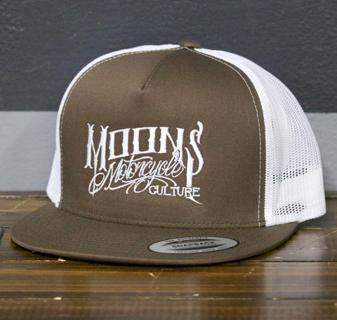 MOONSMC® OG Logo Brown / White Snapback Hat, Apparel, MOONS, MOONSMC® // Moons Motorcycle Culture