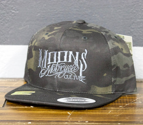MOONSMC® OG Logo Dark Multi Camo Snapback Hat, Apparel, MOONS, MOONSMC // Moons Motorcycle Culture