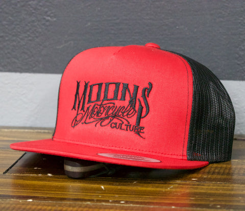 MOONSMC® OG Logo Red / Black Snapback Hat, Apparel, MOONS, MOONSMC® // Moons Motorcycle Culture