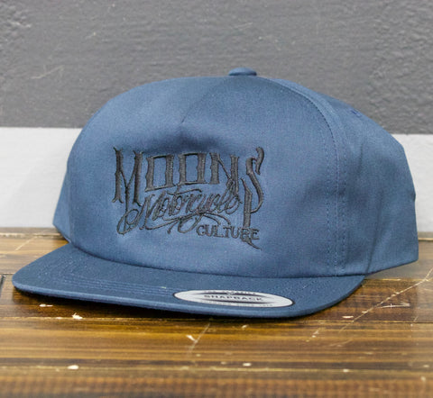 MOONSMC® OG Logo Blue Skater Snapback Hat, Apparel, MOONS, MOONSMC® // Moons Motorcycle Culture