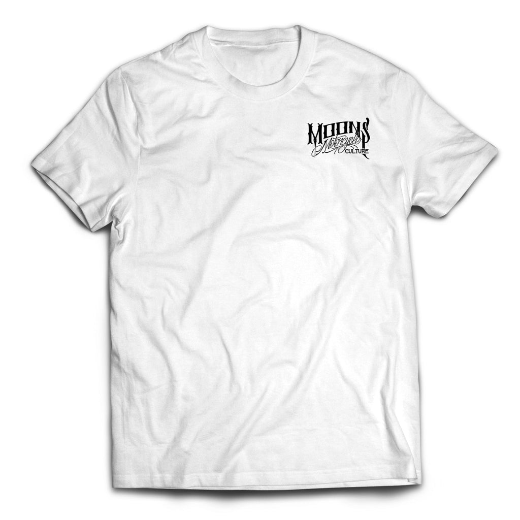 MOONSMC® OG Logo White Tshirt, Apparel, MOONS, MOONSMC® // Moons Motorcycle Culture