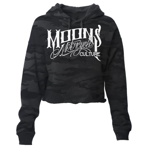 MOONSMC® OG Logo Womens Black Camo Lightweight Cropped Pullover Hoodie