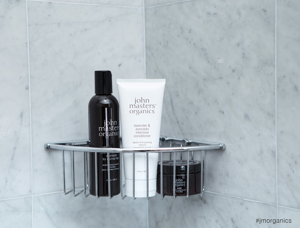 John Masters Organics shampoo, intensive conditioner, body scrub