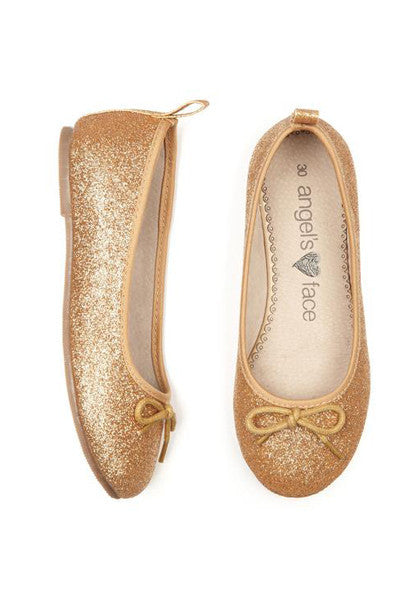 Gold Glitter Toddler Girls Ballet Pump Shoes Shoes Angels Face at Kids Emporium by Lazy Francis - Shop in store at 406 Kings Road, Chelsea, London or shop online at www.kidsemporiumonline.com