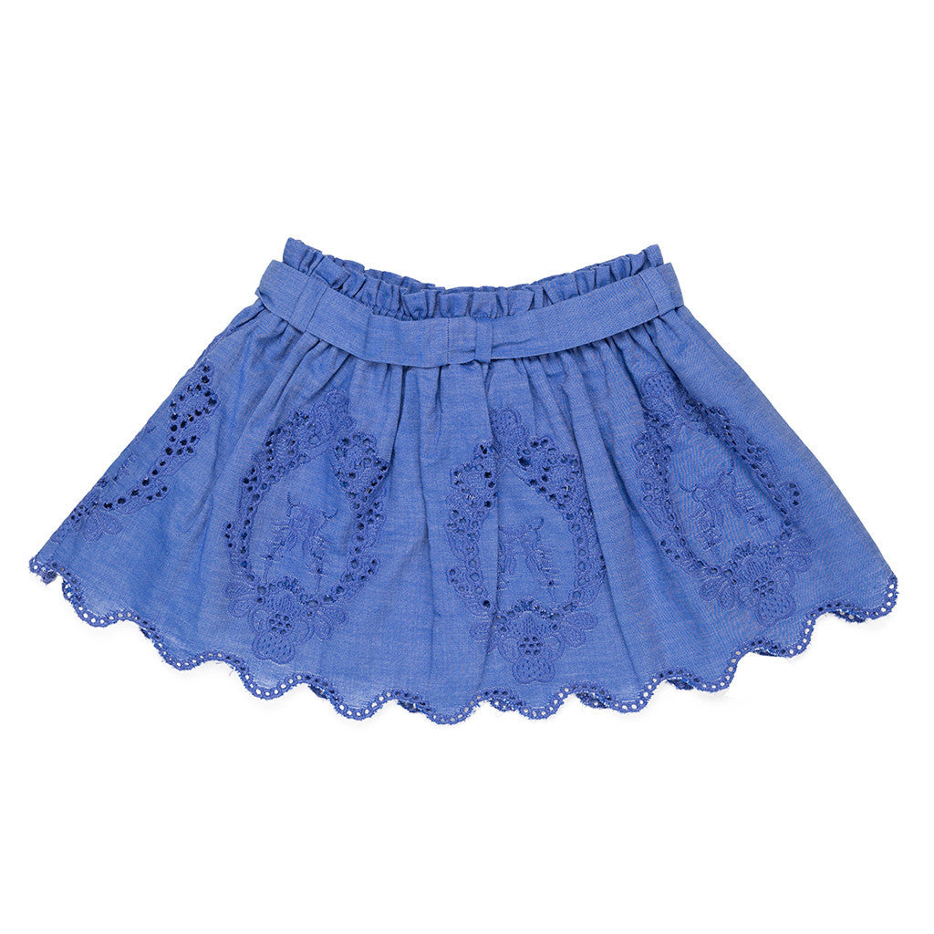 Blue Embroidered Girls Skirt SKIRT Tuta - Ricconi at Kids Emporium by Lazy Francis - Shop in store at 406 Kings Road, Chelsea, London or shop online at www.kidsemporiumonline.com