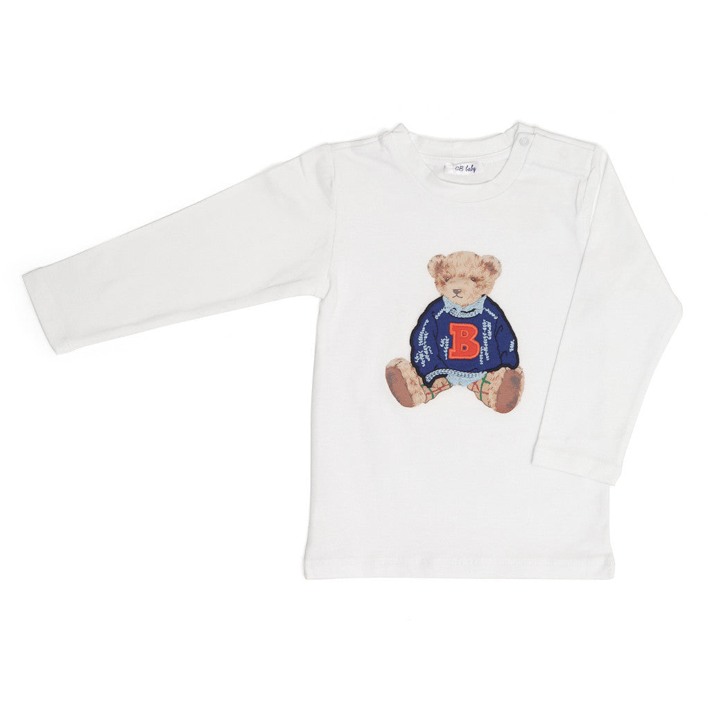 Long Sleeved Teddy T-shirt for Boys in White T-SHIRT Tuta - G&B Baby at Kids Emporium by Lazy Francis - Shop in store at 406 Kings Road, Chelsea, London or shop online at www.kidsemporiumonline.com