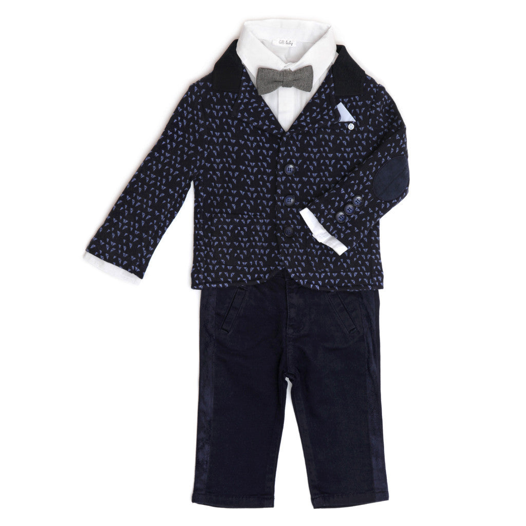Gabardine Boys Trousers in Navy TROUSERS Tuta - G&B Baby at Kids Emporium by Lazy Francis - Shop in store at 406 Kings Road, Chelsea, London or shop online at www.kidsemporiumonline.com