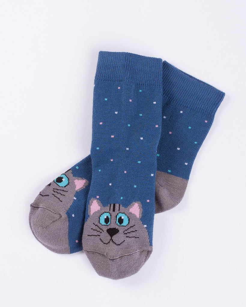 Navy Blue & Grey Cat Polka Dot Socks - Mark Formelle Socks Mark Formelle at Kids Emporium by Lazy Francis - Shop in store at 406 Kings Road, Chelsea, London or shop online at www.kidsemporiumonline.com
