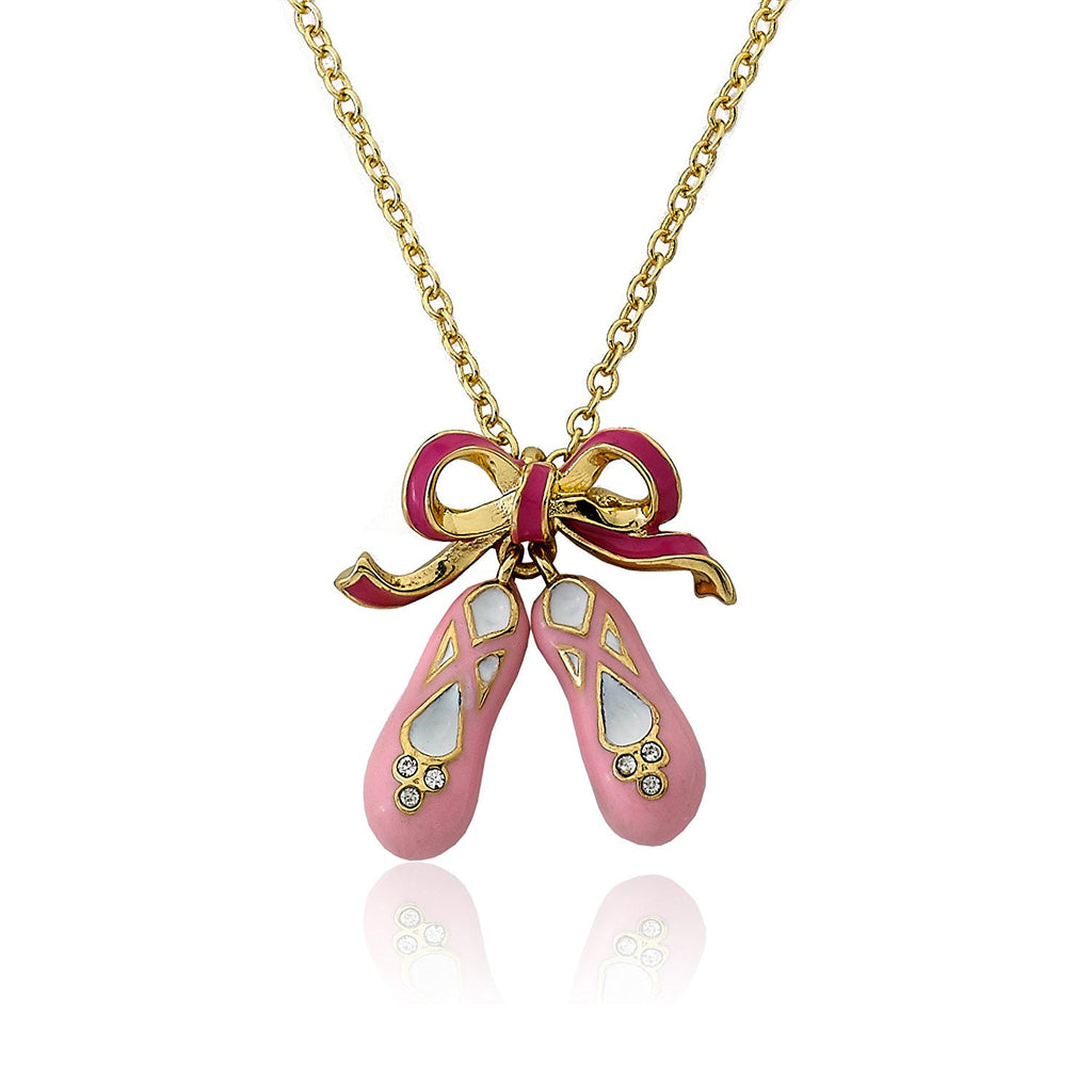 Ballet Beauty 14k Gold Plated Bow and Shoes Pendant Necklace Jewellery Little Miss Twin Star at Kids Emporium by Lazy Francis - Shop in store at 406 Kings Road, Chelsea, London or shop online at www.kidsemporiumonline.com