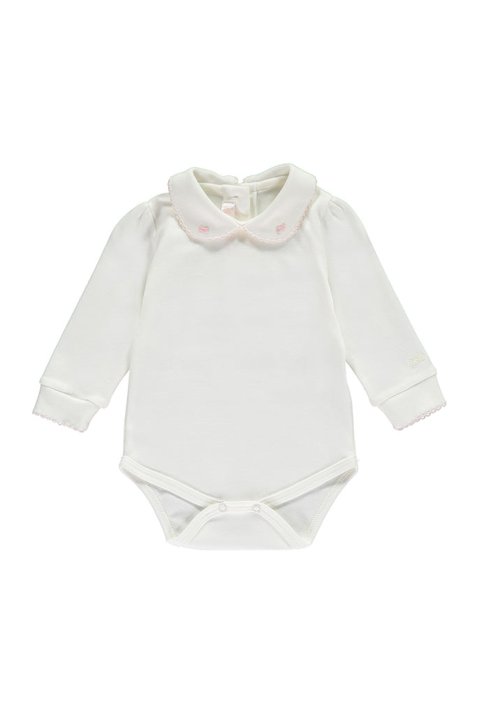 Off white baby girls body with embroidery and stitching detail in pink along the collar and wrists.