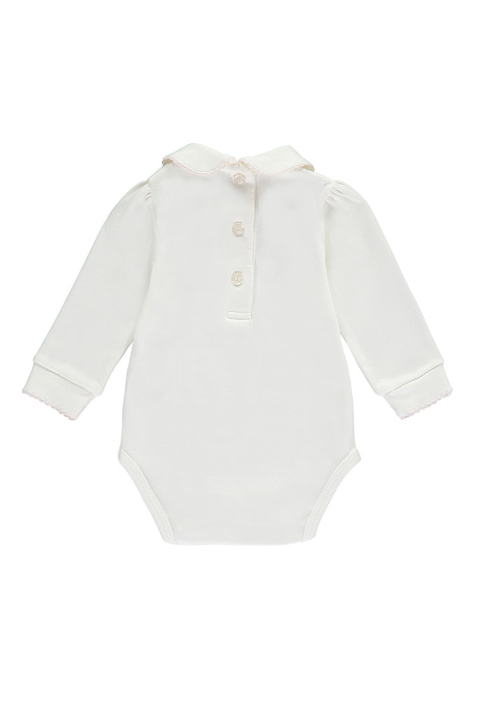 Off-White Organic Embroidered Baby Girls Body - Bebe Bombom Baby clothes Bebe Bombom at Kids Emporium by Lazy Francis - Shop in store at 406 Kings Road, Chelsea, London or shop online at www.kidsemporiumonline.com