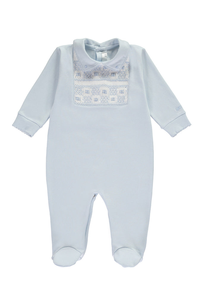 Blue Boys Square Handsmocked Babygrow - Bebe Bombom Baby clothes Bebe Bombom at Kids Emporium by Lazy Francis - Shop in store at 406 Kings Road, Chelsea, London or shop online at www.kidsemporiumonline.com