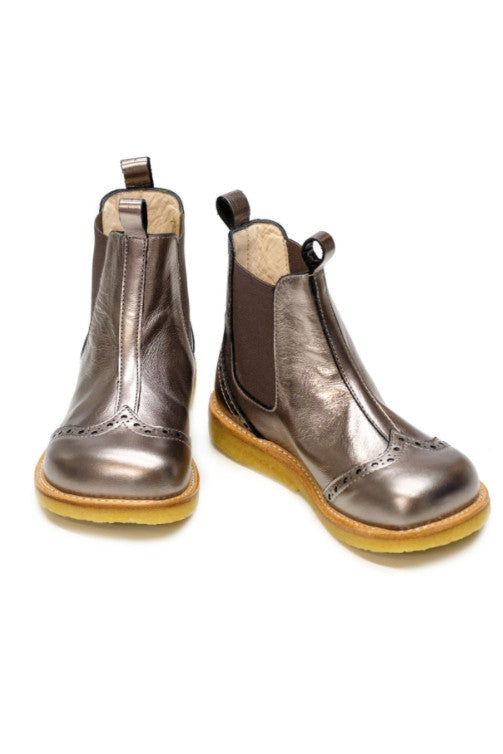 Girls Bronze Chelsea boots with elastic slip-on design, cut-out details.