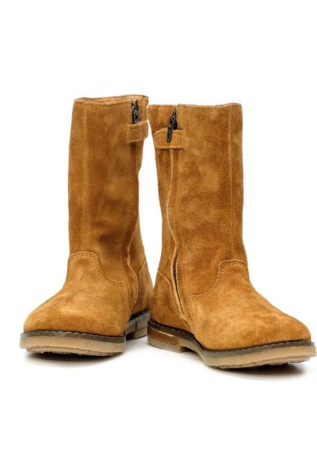 Camel Tip Botte Velours High Boot in a gorgeous velours leather with goat leather lining.