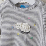 Grey & White Lamb Crochet Baby Romper - Albetta Baby Wear Albetta at Kids Emporium by Lazy Francis - Shop in store at 406 Kings Road, Chelsea, London or shop online at www.kidsemporiumonline.com
