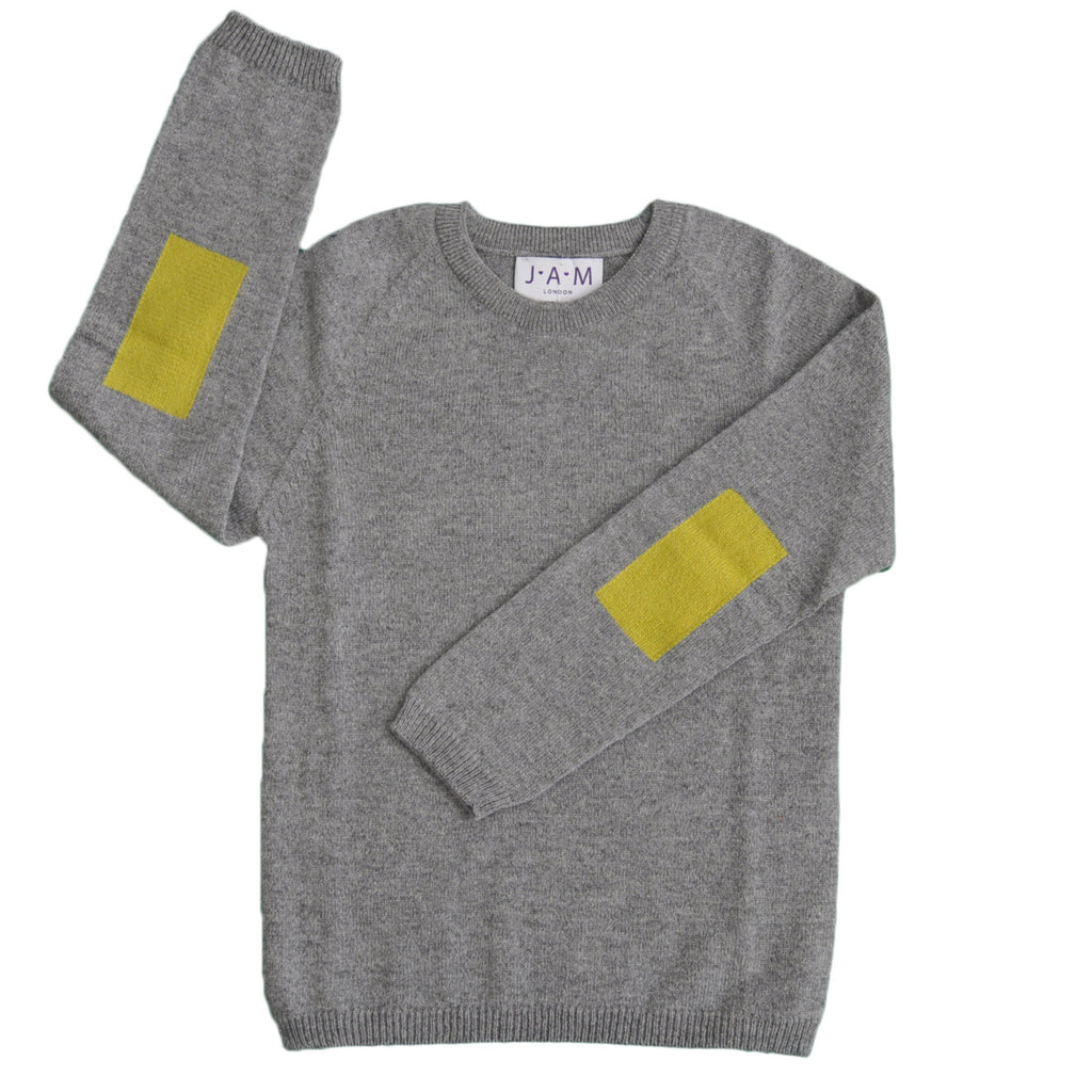 Danny Unisex Jumper Grey Lime Jumper JAM London at Kids Emporium by Lazy Francis - Shop in store at 406 Kings Road, Chelsea, London or shop online at www.kidsemporiumonline.com