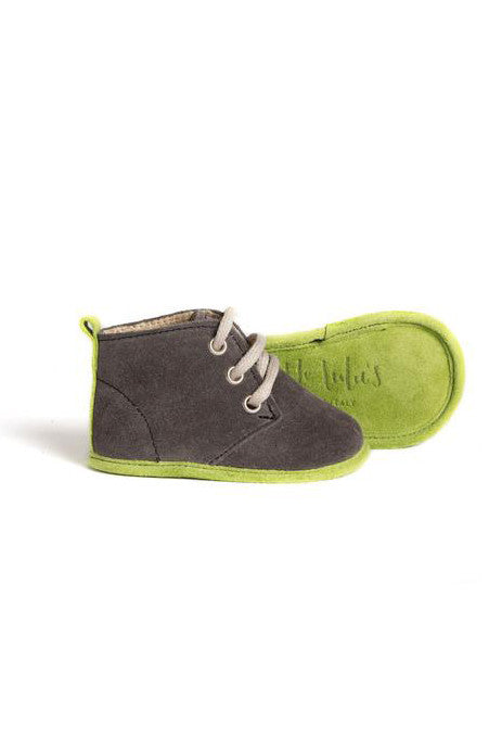 Charcoal & Lime Edwards Soft Sole Baby Boys Boots Shoes Little Lulu's at Kids Emporium by Lazy Francis - Shop in store at 406 Kings Road, Chelsea, London or shop online at www.kidsemporiumonline.com
