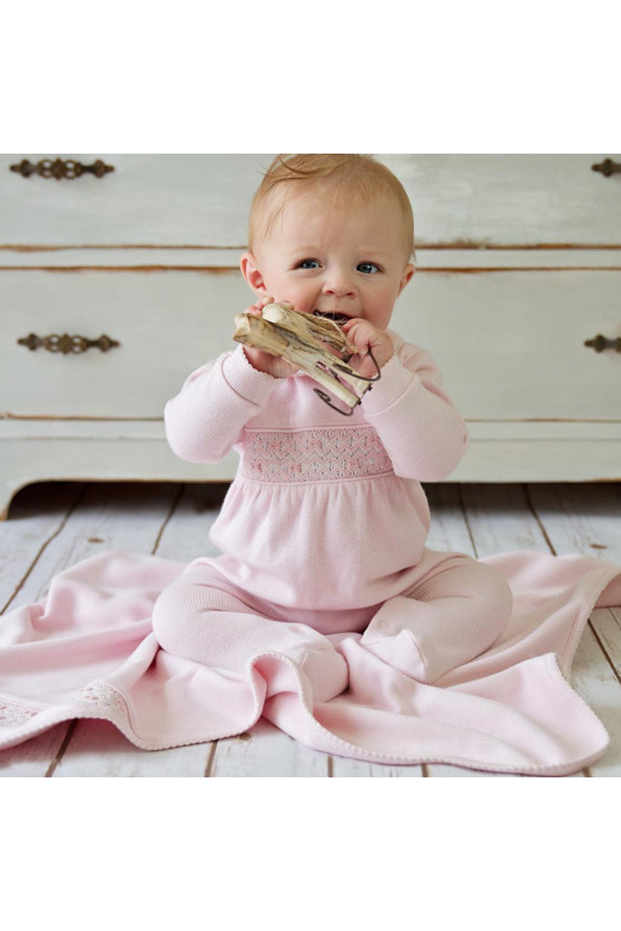 Pink Baby Girls Handsmocked Punto Roma Blanket - Bebe Bombom Baby clothes Bebe Bombom at Kids Emporium by Lazy Francis - Shop in store at 406 Kings Road, Chelsea, London or shop online at www.kidsemporiumonline.com