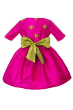 Lazy Francis Fuchsia Silk Magic Frog Full Girls Designer Dress back sale