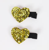 Gold Glitter Shimmer Heart Clips ACCESSORIES Bowtique at Kids Emporium by Lazy Francis - Shop in store at 406 Kings Road, Chelsea, London or shop online at www.kidsemporiumonline.com