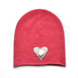 Knitted Baby Girls Pink Cashmere Beanie with Heart and Mini Pompom  JAM London at Kids Emporium by Lazy Francis - Shop in store at 406 Kings Road, Chelsea, London or shop online at www.kidsemporiumonline.com