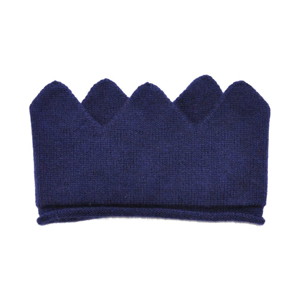 Knitted Girls Navy Cashmere Crown Headband  JAM London at Kids Emporium by Lazy Francis - Shop in store at 406 Kings Road, Chelsea, London or shop online at www.kidsemporiumonline.com