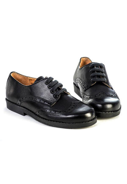 Lazy Francis Black Leather Unisex Brogue Shoes Shoes Lazy Francis at Kids Emporium by Lazy Francis - Shop in store at 406 Kings Road, Chelsea, London or shop online at www.kidsemporiumonline.com