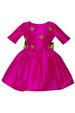 Lazy Francis Fuchsia Silk Magic Frog Full Girls Designer Dress front sale exclusive