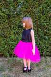 Fuchsia High-Low Girls Designer Tutu Skirt with Denim Belt by Lazy Francis Summer Party special occasion birthday front sale