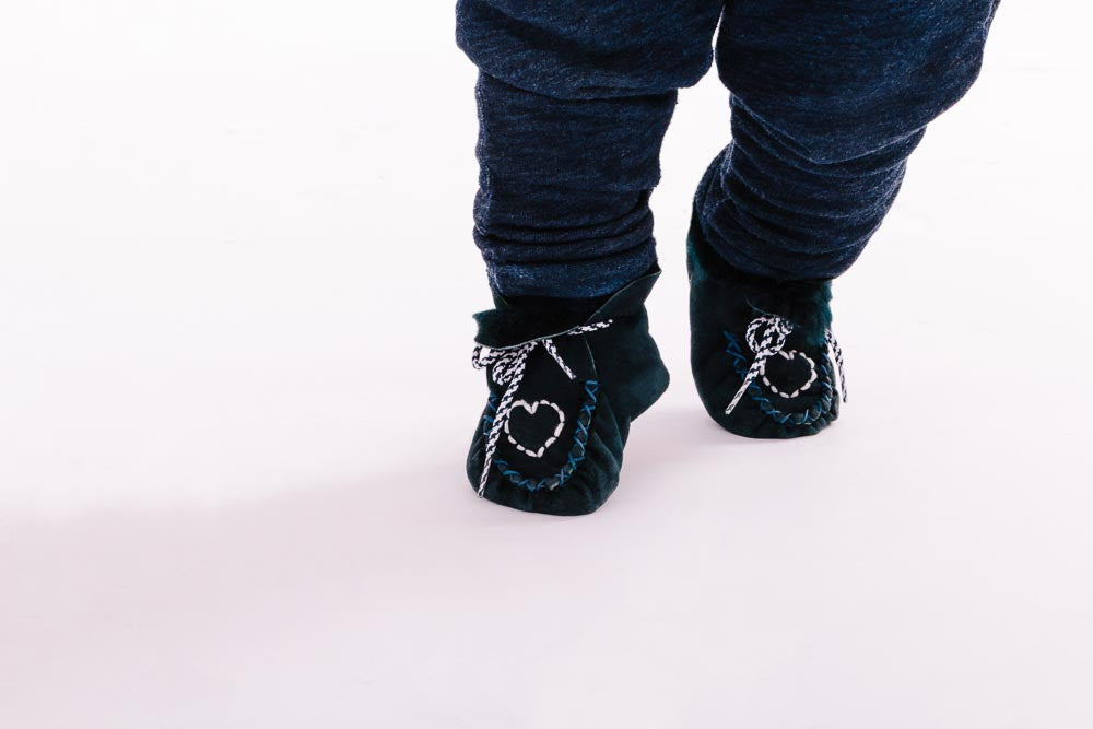 Fur Lined Hand-Made Baby Booties in Navy Baby Shoes Mamou at Kids Emporium by Lazy Francis - Shop in store at 406 Kings Road, Chelsea, London or shop online at www.kidsemporiumonline.com