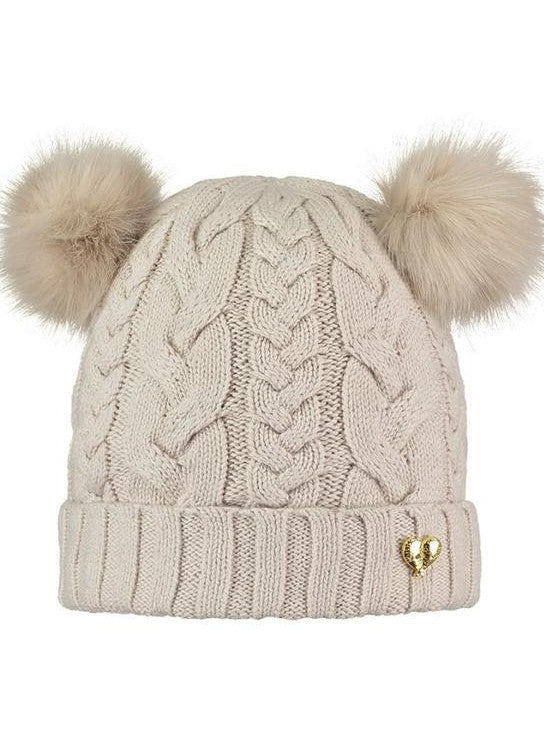 Beige Girls Moon Beam Chunky Knit Hat ACCESSORIES Angels Face at Kids Emporium by Lazy Francis - Shop in store at 406 Kings Road, Chelsea, London or shop online at www.kidsemporiumonline.com