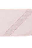 Pink handsmocked puno roma blanket with embroidery pattern across.