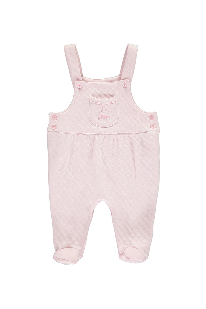 Pink jackard dungarees with heart embroidery.