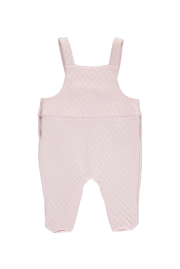 Pink Baby Girls Embroidered Jacquard Dungarees & Body Set - Bebe Bombom Baby clothes Bebe Bombom at Kids Emporium by Lazy Francis - Shop in store at 406 Kings Road, Chelsea, London or shop online at www.kidsemporiumonline.com