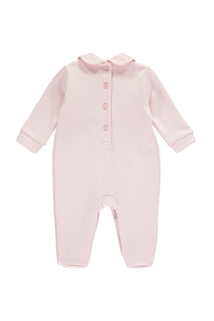 Pink Baby Girls Punta Roma Babygrow - Bebe Bombom Baby clothes Bebe Bombom at Kids Emporium by Lazy Francis - Shop in store at 406 Kings Road, Chelsea, London or shop online at www.kidsemporiumonline.com